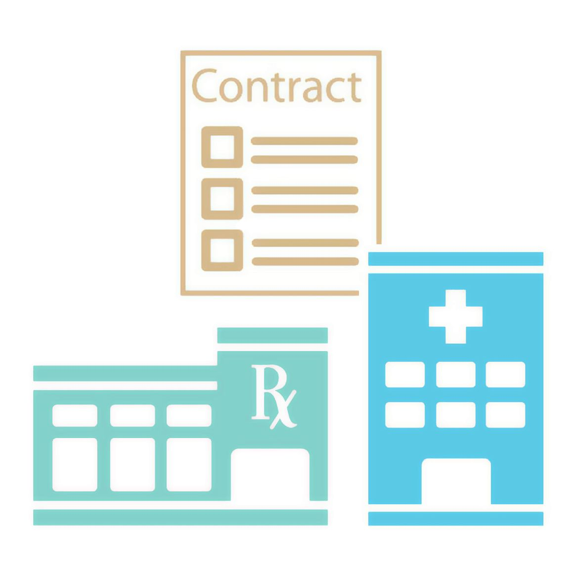 illustration of contract, hospital and pharmacy.