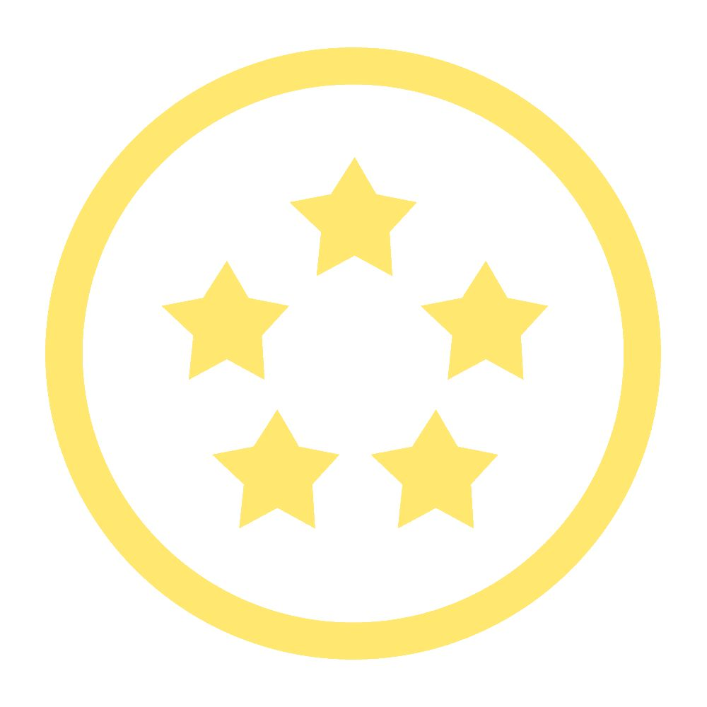 illustration of yellow stars inside a circle