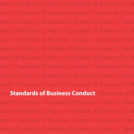 red background with white text reading Standards of Business Conduct
