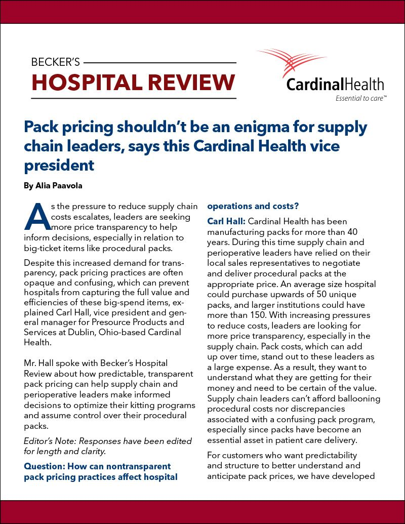 image of article cover entitled Pack pricing shouldn't be an enigma for supply chain leaders, says this Cardinal Health vice president