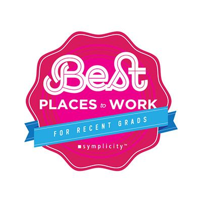 Logo reading Best Places to Work for Recent Grads.