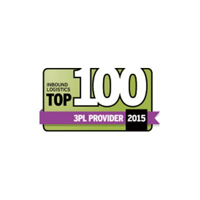 award reading Inbound Logistics Top 100 3PL provider 2015