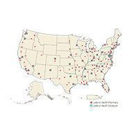 Map of Cardinal Health radiopharmaceutical locations.