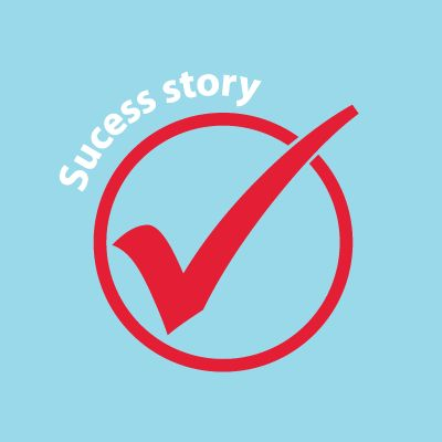 "illustration of checkmark inside of circle with text ""Success story"" above"