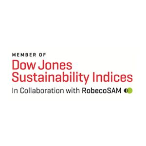 logo reading member of Dow Jones Sustainability Indices in Collaboration with RobecoSAM
