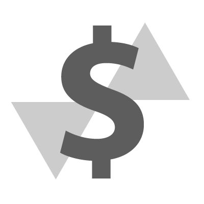Dollar sign with arrows.