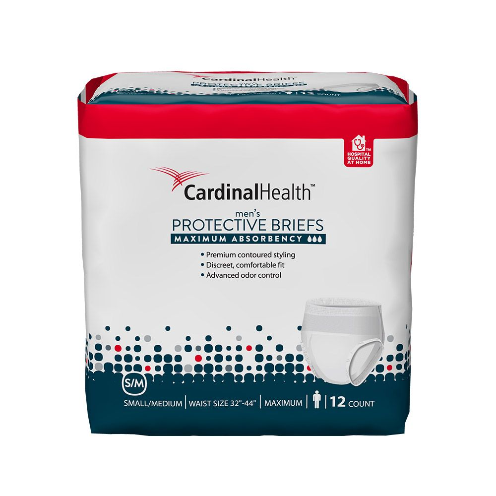 Product package with Cardinal Health's men's protective briefs.
