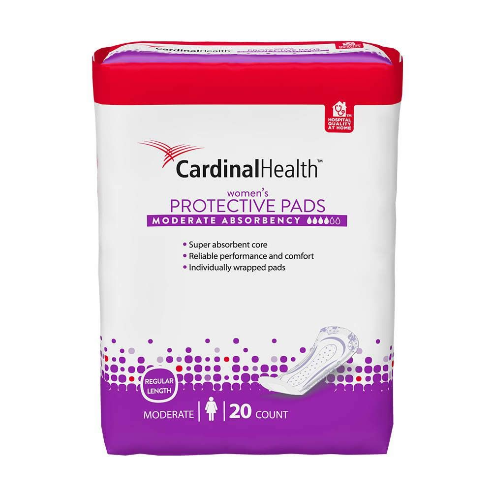 Product package of Cardinal Health's woman's protective pads with moderate absorbency.