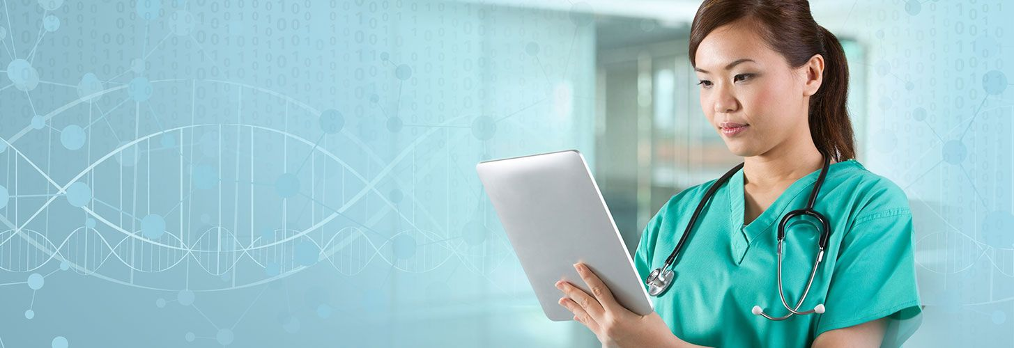 nurse with stethoscope and tablet