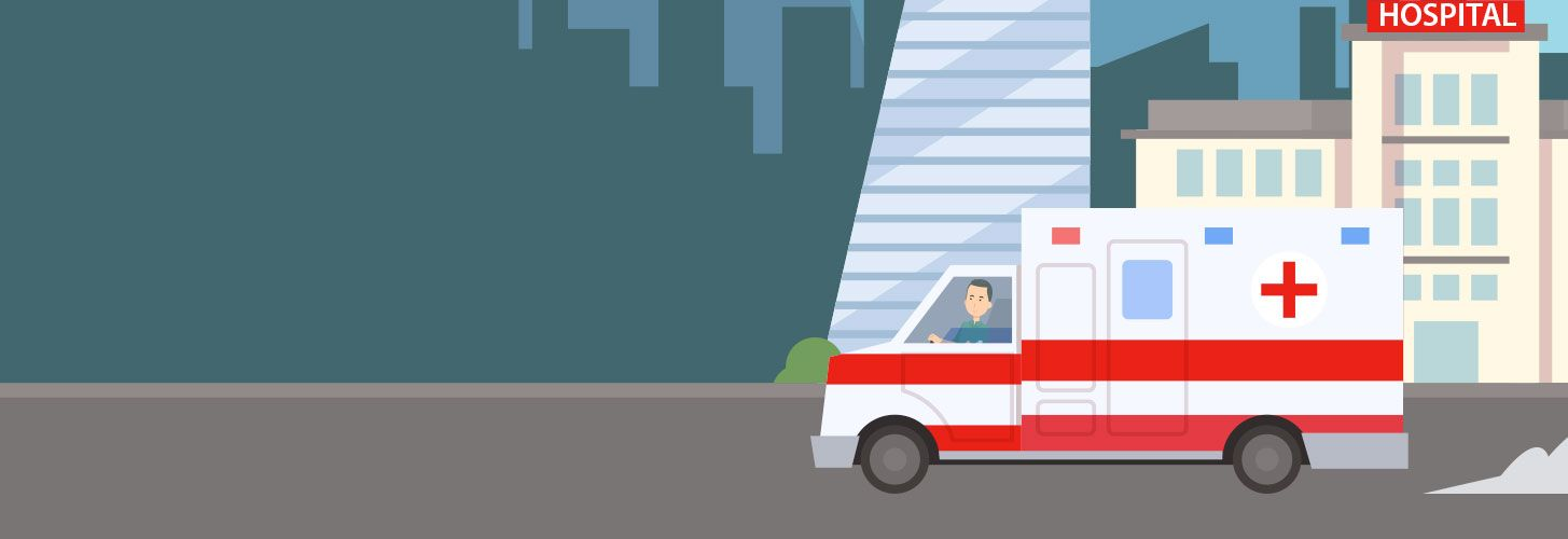 Illustration of ambulance driving past hospital.