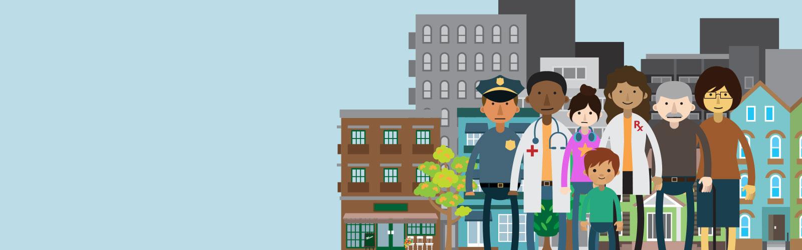 Illustration of GenerationRx community members in a city.