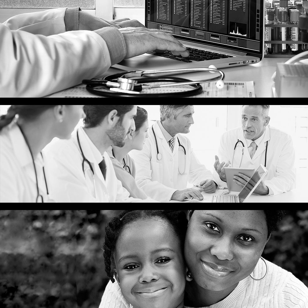 black and white collage of drug research, patients and doctors.