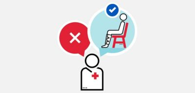 Illustration of a doctor thinking about DVT treatment for a patient sitting in a chair.
