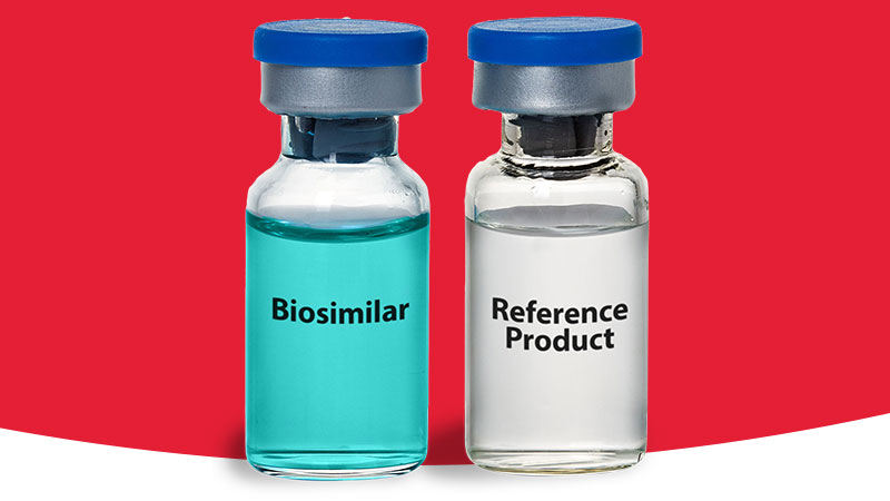 Two medicine bottles: One reading Biosimilar. The other reading Reference Product.