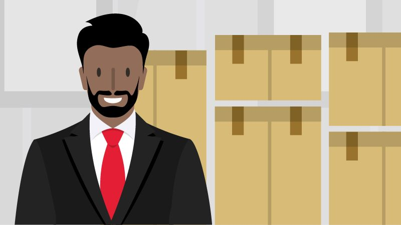 illustration of man in tie smiling while standing in front of boxes