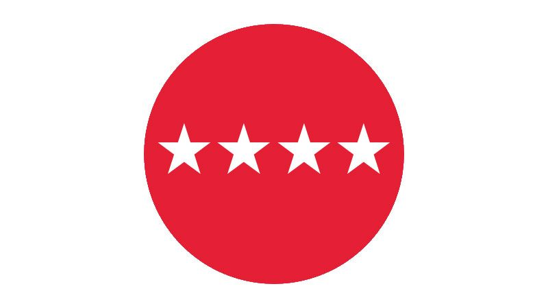 Red circle containing four white stars.