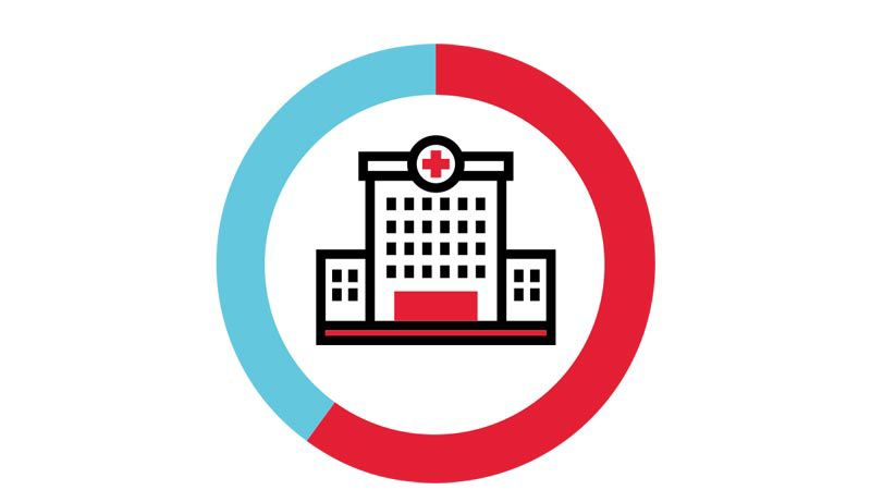 Icon illustration of a hospital inside a blue and red circle.