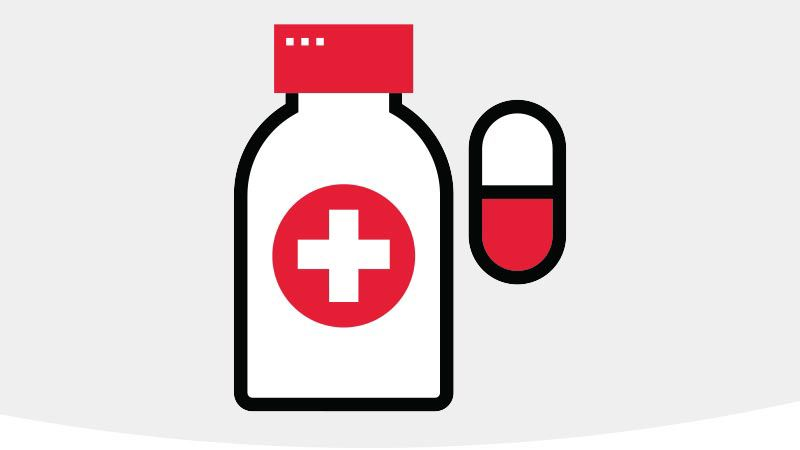 Prescription bottle and pill icon.