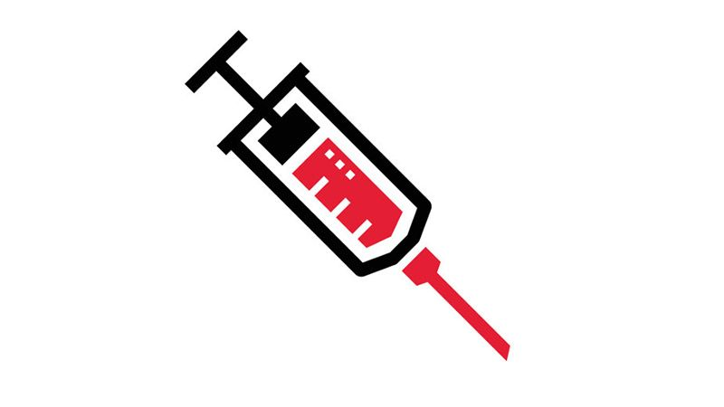 Syringe icon on red background.