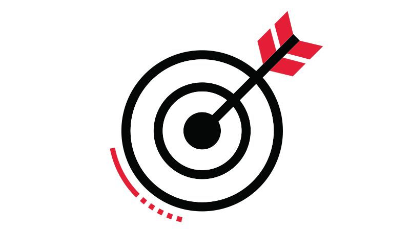 Icon illustration of a target.