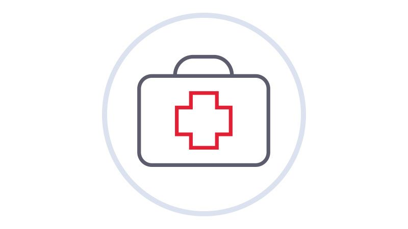 Icon-bag with medical cross.
