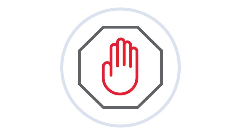Icon-hand in octagon.