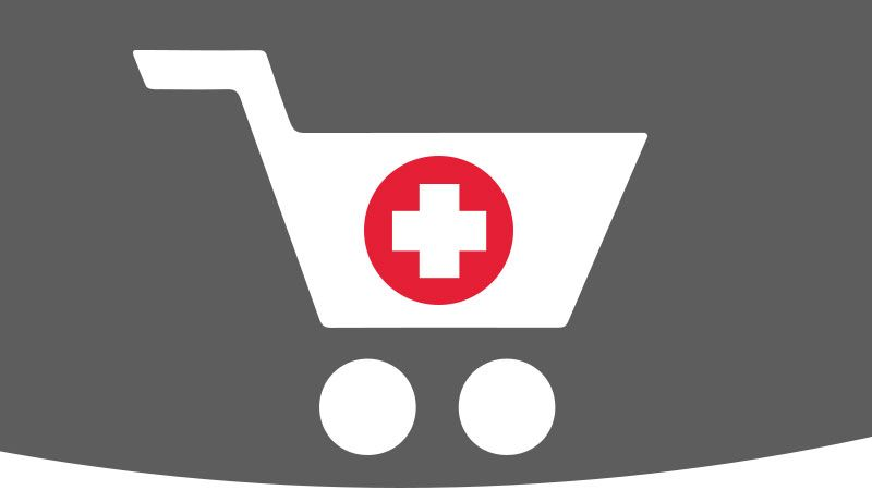 Illustration of medical shopping cart.