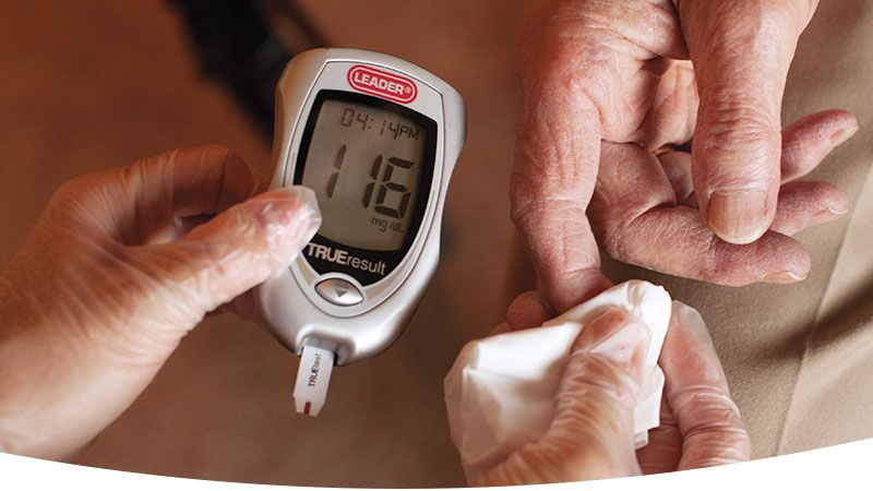testing blood sugar with glucose meter