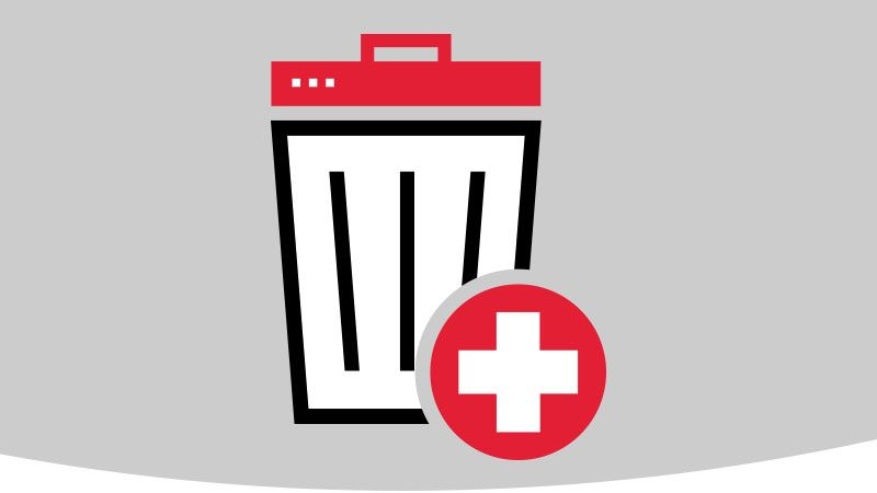 Trashcan with hospital symbol.