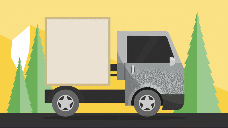 illustration of delivery truck driving on the road