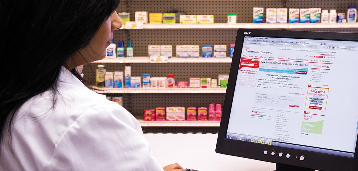 Pharmacist ordering from an online ordering application.