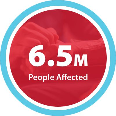 text reading 6.5 million people affected
