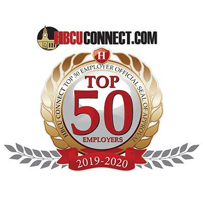 Logo reading HBCUconnect.com Top 50 Employers.