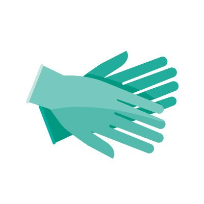 Illustration of two gloved hands.
