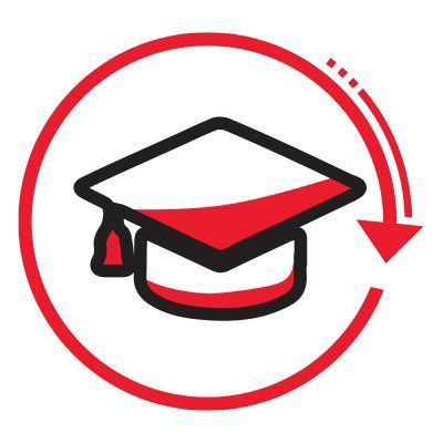 graduation cap icon with red circle and arrow.