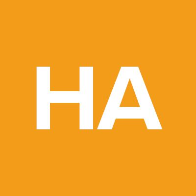 The letters H and A on orange background.