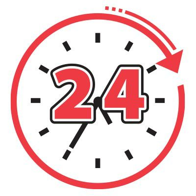 Icon illustration of a 24 hour clock.