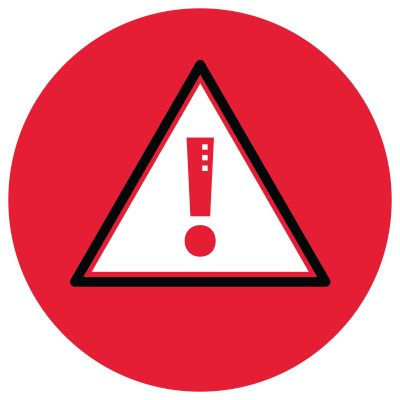Alert icon in a red circle.