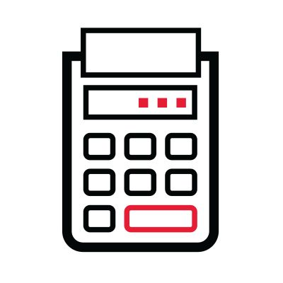 Icon illustration of a calculator.