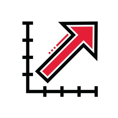 Icon illustration of a chart with an upward arrow.