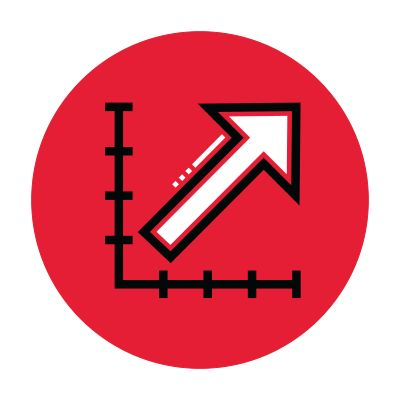 Icon illustration of a chart with an upward arrow in a red circle.