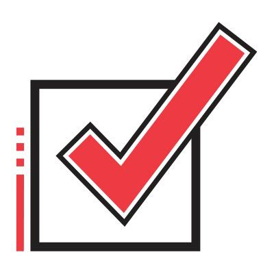 Icon illustration of a report with a red check mark.