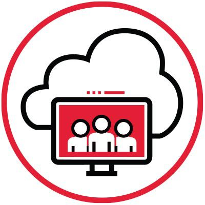 Icon of a computer and a cloud inside a red circle.