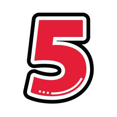Icon illustration of the number five.