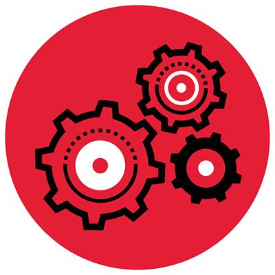 Icon - three gears in red circle.