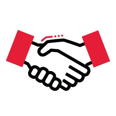 Icon illustration of a handshake.