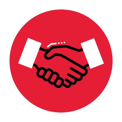 Icon illustration of shaking hands in a red circle.