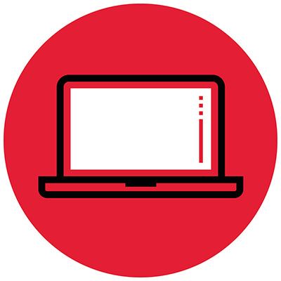 Icon illustration of a laptop computer in a red circle.