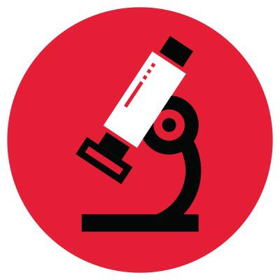 Icon of a microscope in red circle.