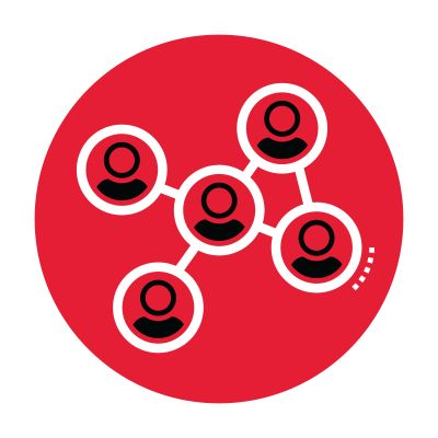 Icon of a network in a red circle.